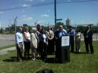 Governor Snyder addresses the media after touring the Delray neighborhood in Detroit.
