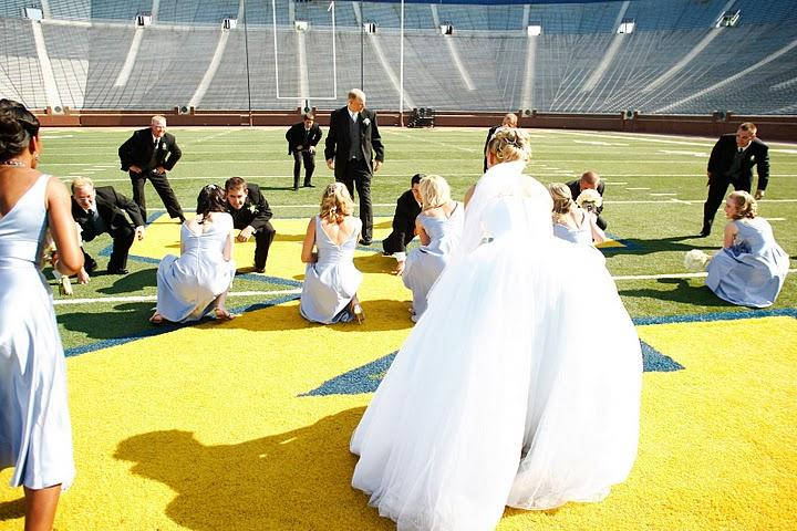 Wedding ceremony on the 50 yard line at the Big House in Ann Arbor