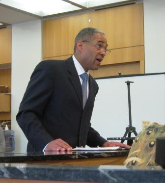 Detroit International Bridge Company attorney Reginald Turner argues before Judge Prentis Edwards in Detroit.