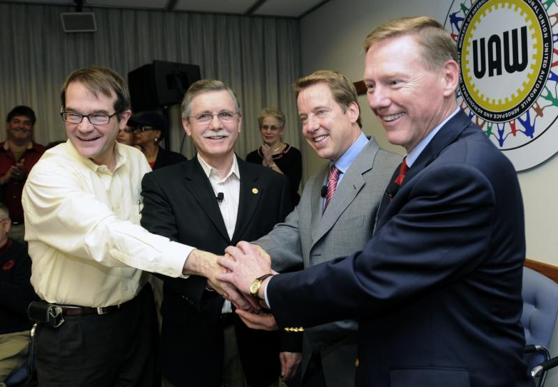 In a 2007 photo from left, Bob King (current UAW President) is with Ron Gettelfinger, (former UAW President), Bill Ford, Executive Chairman, Ford Motor Company, and Alan Mulally, President and CEO, Ford Motor Company.