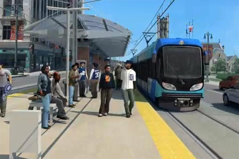 "An artists rendition of the ""Foxtown/Stadium"" stop for the proposed light rail project in Detroit."
