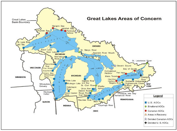 "There are 30 pollution hotspots or ""areas of concern"" on the U.S. side of the Great Lakes (four of the ""areas of concern"" are shared with Canada). A new EPA project aimed at employing workers could lead to clean up in some of these areas."
