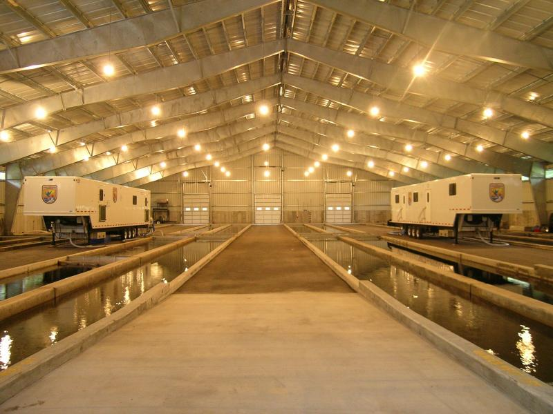 U.S. Fish and Wildlife fish hatchery in Brimley, MI on Lake Superior.  The trailers are 'mass marking trailers,' used to tag every hatchery fish introduced into the Great Lakes.