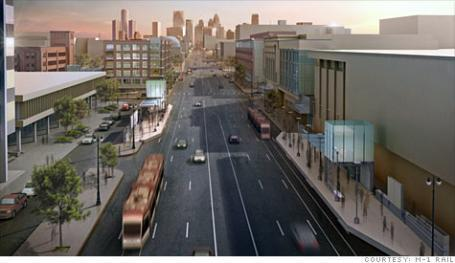An artist's rendering of the proposed light rail project in Detroit.