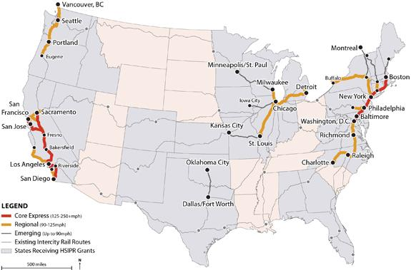 A map showing current High-Speed Intercity Passenger Rail program investments.