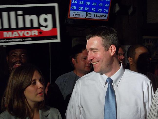 Incumbent Flint mayor Dayne Walling celebrates with his supporters Tuesday night
