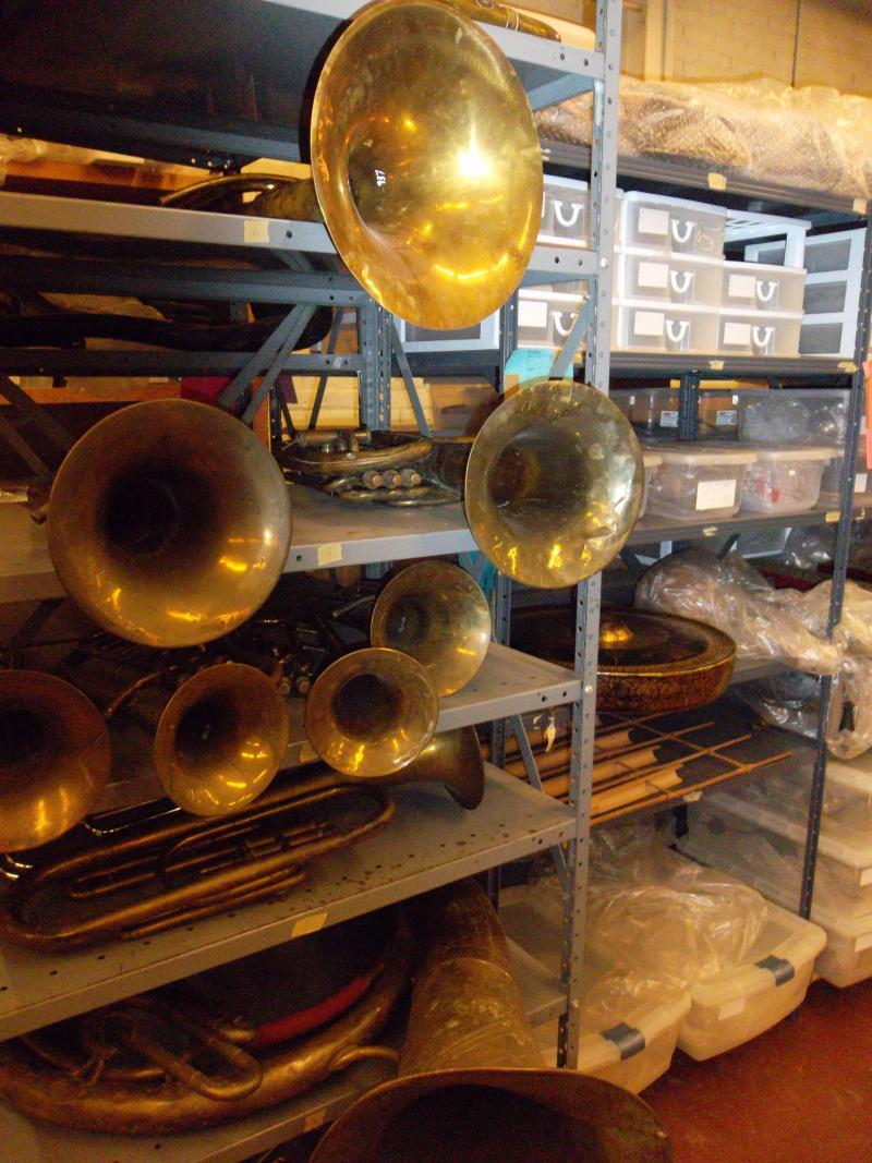 One of the many shelves inside the Stearns Collection of Musical Instruments