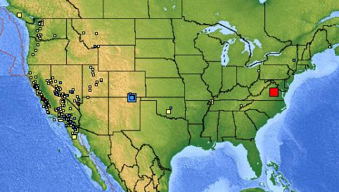 USGS image showing the location of the earthquake.