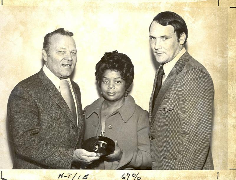 Esther Gordy Edwards Donating Motown Collection with Eastern Michigan University President Harold E. Sponberg and Larry Head of the Alumni Department