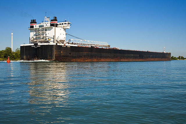 Two of the Indiana Harbor's 10 ballast tanks were treated to kill invasive species. The real-world test was conducted with the cooperation of the American Steamship Company.