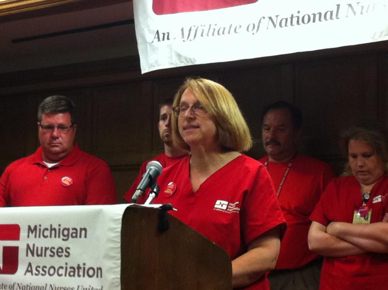 Katie Oppenheim is the President of the University of Michigan Professional Nurse Council (UMPNC). She was one speaker at the press conference August 2 in the Michigan Union.