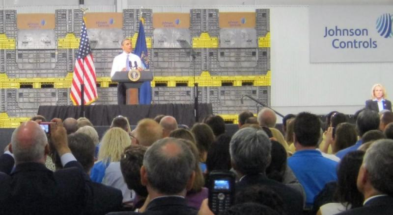 Obama toured a Saft-Johnson Controls joint venture in Holland before speaking to an invitation-only crowd of about 200 people.