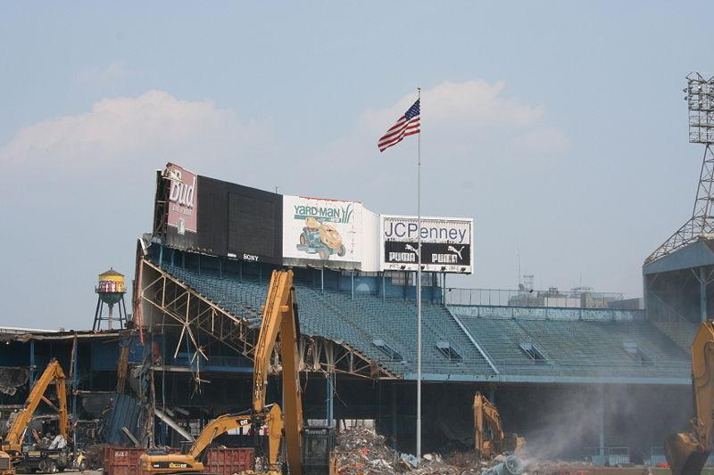 Tiger Stadium during demolition