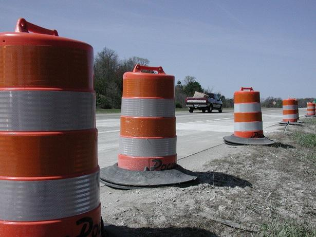Orange barrels along I94 in Jackson County