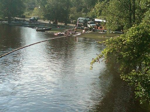 Oil spill cleanup workers on the Kalamazoo River near Battle Creek in August, 2010.