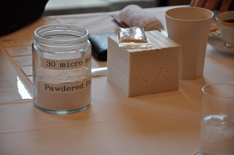 Photo of products from the powdered paper-based plastics that will be made in Midland, Michigan. The Governor's office says the Midland facility will be only one of its kind in North America.