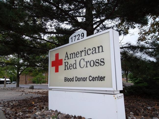 The sign at the American Red Cross office on Saginaw St. in Lansing