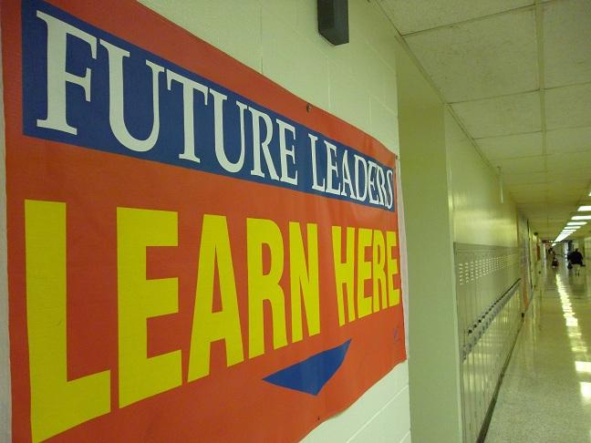 A banner hanging in a hallway at Lansing's STEM Academy