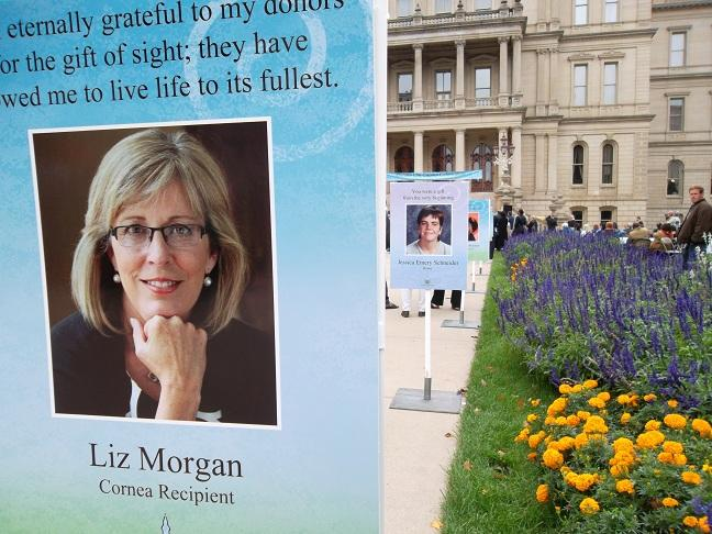 The pictures and stories of donor & tissue donors and recipients were on display on the state capitol grounds today in Lansing