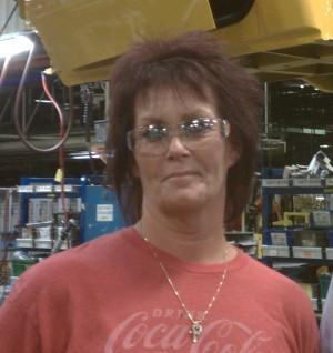 Navistar worker Veronica Smith at the plant's final assembly department, Springfield.