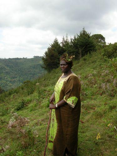 Wangari Maathai in Kenya in 2004 - the year she won the Nobel Peace Prize.