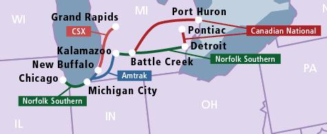 Most of the track that Amtrak trains run on in Michigan are owned by freight companies.