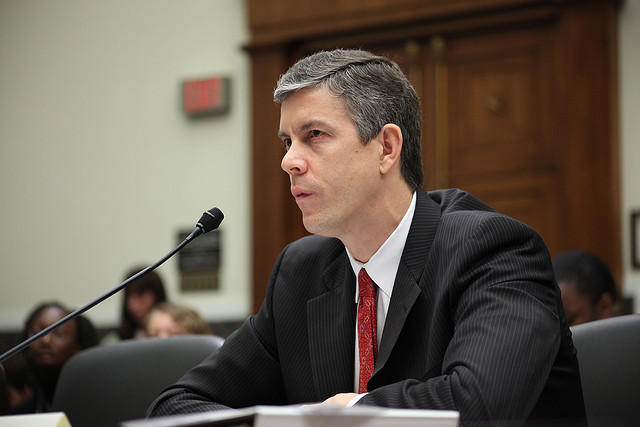 U.S. Education Secretary Arne Duncan testifying in Congress.