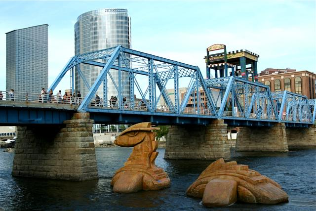 """Nessie"" floats in the Grand River during the 2009 ArtPrize."