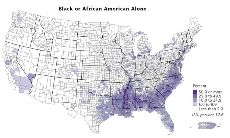 The black or African American population as a percent of a county's population in 2010.