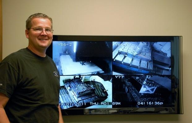 Greenwald uses video surveillance to monitor his machines. He can check these feeds from almost anywhere on earth.