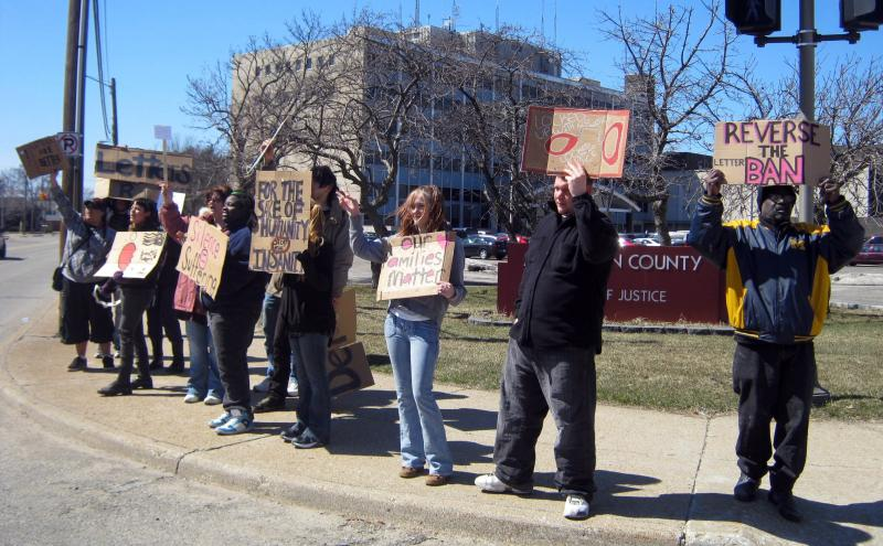 Protestors lined up in front of the Muskegon County jail several times this year to protest the posdcard only policy.