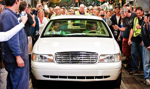The last Crown Victoria rolls off the assembly line yesterday. The St. Thomas Assembly Plant in Ontario will close.
