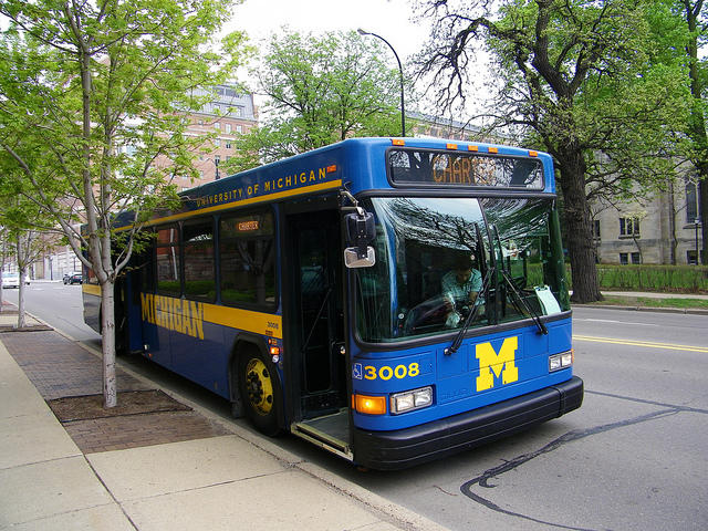 A bus on the University of Michigan's campus in Ann Arbor.