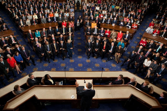 "President Barack Obama addresses a joint session of Congress calling on the members to pass ""The American Jobs Act."""