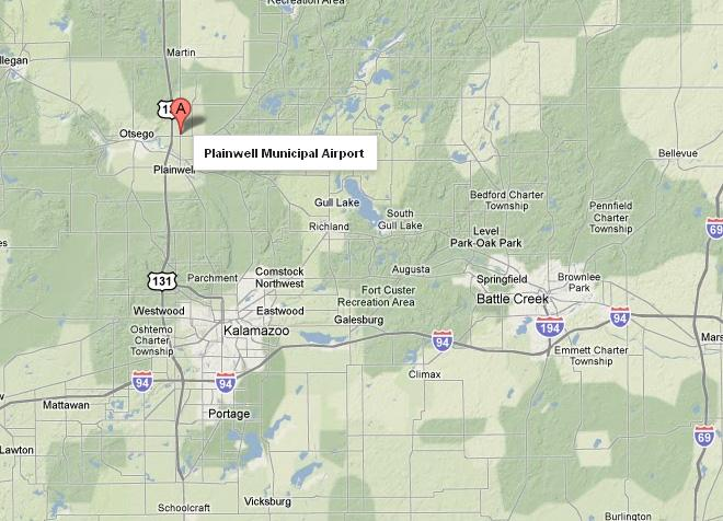 The plane crash occurred near the Plainwell Municipal Airport about 16 miles north of Kalamazoo.