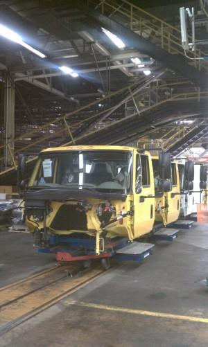 Trucks coming along the line at Navistar's Springfield, Ohio factory.