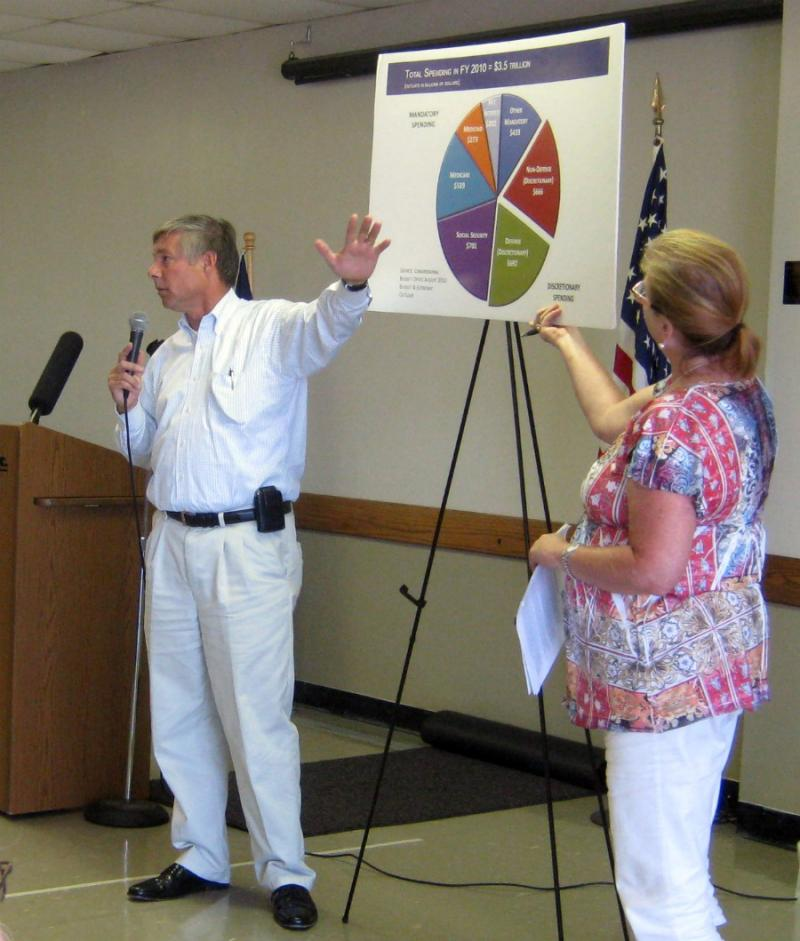 Congressman Fred Upton (R-St. Joseph) reviews federal spending at a public meeting last month. The 'super comittee's' webpage was not up and running at that time. Now he's looking for ideas.