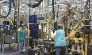 Navistar workers at the Springfield, Ohio cab assembly plant.