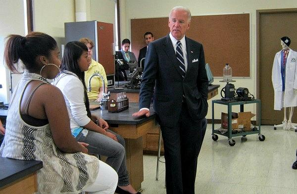 Vice President Joe Biden visited the more than 100-year-old Central High School in Grand Rapids Wednesday.