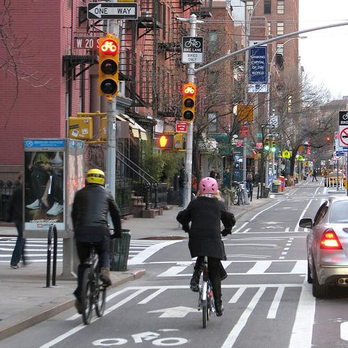 "A bike lane in the ""Big Apple."""