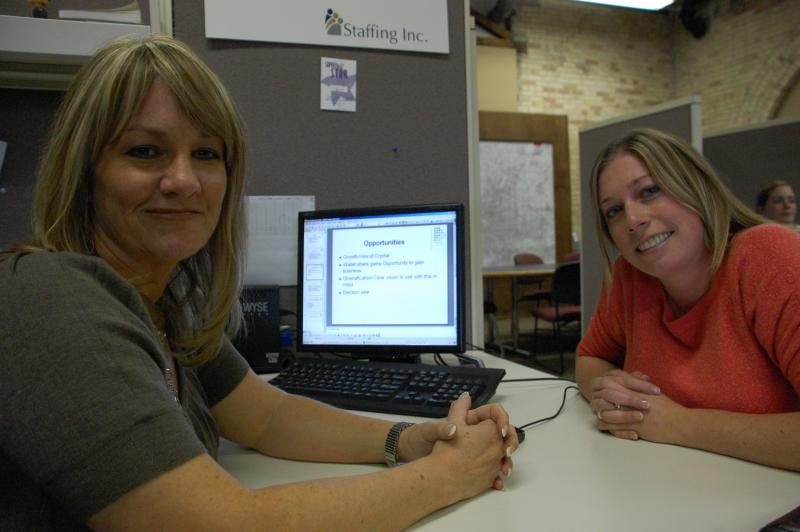 Becky Hall and Shannon Burkel of Staffing Inc. say hiring is off the charts.