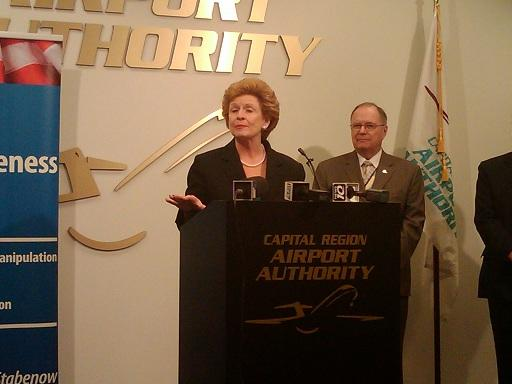 U.S. Senator Debbie Stabenow (D-MI) speaks duing a news conference at Capital Region International Airport in Lansing, MI