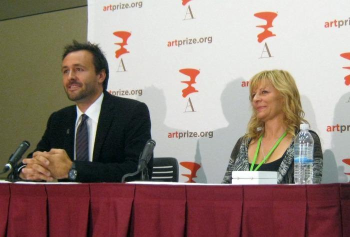 Rick DeVos and ArtPrize winner Mia Tavonatti answer media questions after the announcement Thursday night.