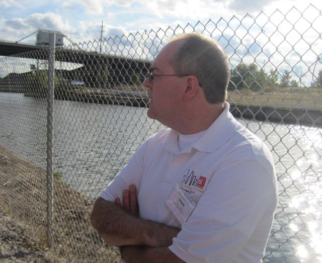 Army Corps of Engineers Project Manager Chuck Shea at the electric barrier system in Romeoville, Illinois.