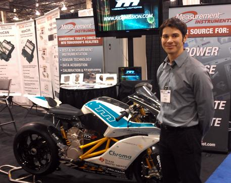 David Salguero from Mission Motors with the Mission electric superbike.
