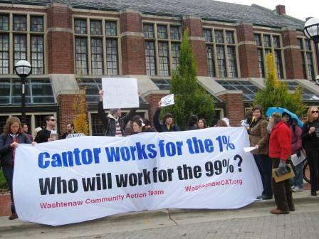 Protestors demonstrate outside House Majority Leader Eric Cantor's speech at U of M.