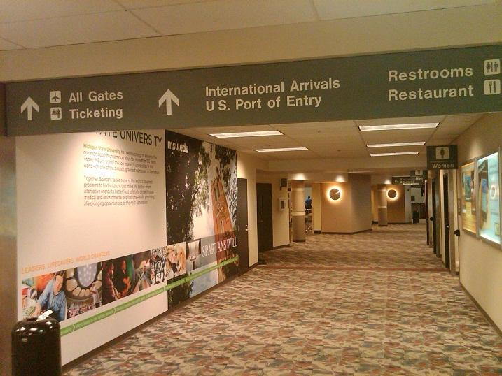 Inside the terminal building at Lansing's Capital Region International Airport