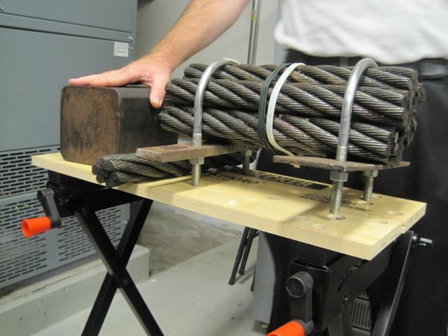 The electrodes in barrier 2A and 2B (shown on the left) and the electrodes in the demonstration barrier (on the right). The bundles of steel cables in the demonstration barrier corroded quickly, so the Corps used steel bars in barrier 2 instead.