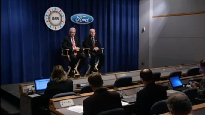 John Fleming, Ford executive vice president, Global Manufacturing and Labor Affairs, and Marty Mulloy, Ford vice president, Labor Affairs, hosting a news conference to discuss the latest developments with the UAW agreement.