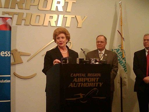 U.S. Senator Debbie Stabenow (D-MI) speaks at a recent news conference at Capital Region International Airport